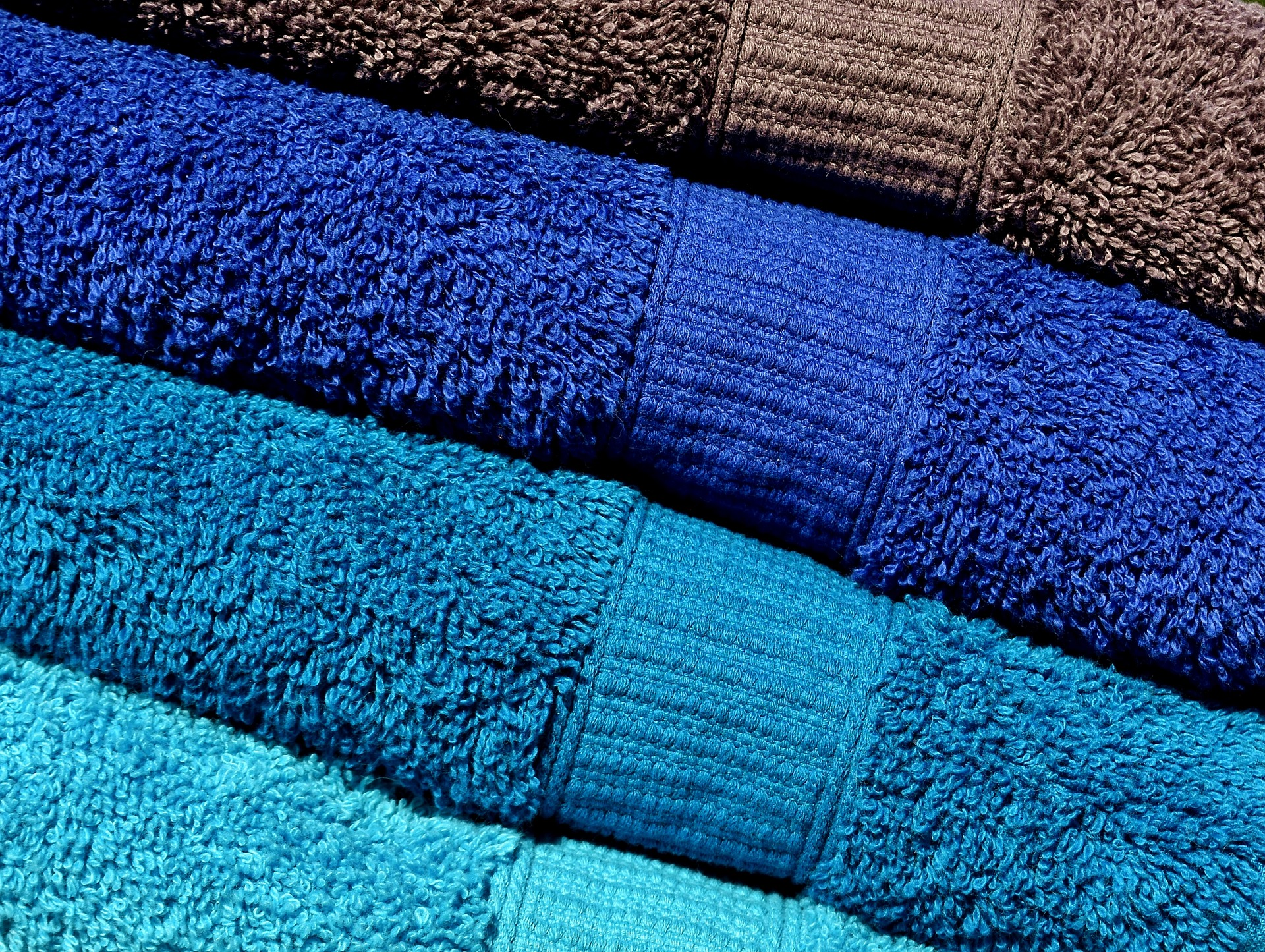 Blue folded towels
